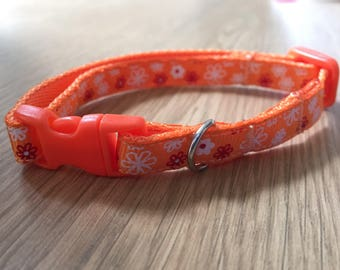 Bright Orange and White Floral Cat/Kitten Collar (Quick Release)