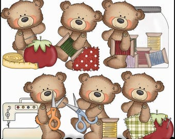 Sewing Clipart - Bear Clipart - Tag Clipart - Instant Download - Button Bears Sewing - Commercial Use