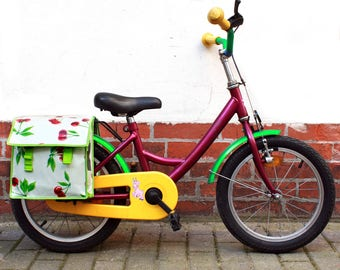kids bicycle bag - pannier - doble pocket - bike panniers from oilcloth, waterproof, retro look