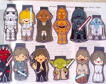 12 Star Wars Bookmarks,  bookmark for book, Darth vs Yoda, Darth vs Yoda, magnetic bookmark, R2-D2, Luke Skywalker, magnetic, mybookmark kid