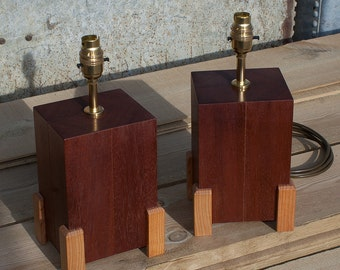 Pair Of Hardwood Bedside Or Table Lamps - Wood Lamp