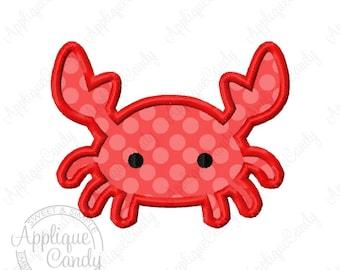 Crab Applique Machine Embroidery Design 2x2 3x3 4x4 5x7 6x10 Beach Sand Vacation Sea INSTANT DOWNLOAD