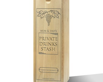 Personalised Private Drinks Stash Wooden Wine Box