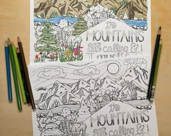 Coloring Page - Mountains are Calling Quote - John Muir - Digital Download - Printable Adult Coloring Page - Colouring Sheet