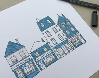 Cute Illustration Wall Art Print, Detailed Houses Shops Buildings, Quirky, Architectural Line Drawing with Blue/Orange & Any Custom Colour.