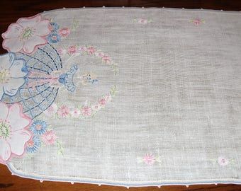 THIRTEEN)  Southern Belle Table Runner.    Dresser Scarf.   Pinks and Blues.