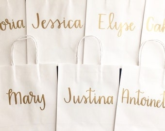 Personalized Gift Bags, Bridesmaid Bags, White, Medium Bags, Thank You, Welcome, Wedding, Gift Bags, Party Bags, Handmade, Hand Lettering