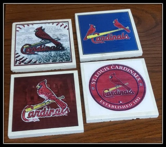 Home Decor Cardinals Baseball Coasters Travertine Tile St Louis