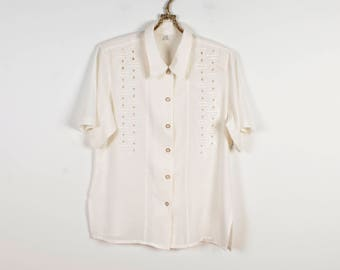 White Blouse Embroidered Blouse Secretary's Blouse Embroidered Summer Blouse Creamy Short Sleeves Blouse Silky Ivory Blouse Size Medium