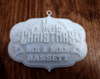 Personalised 3D Printed Christmas Decoration - Merry Christmas!
