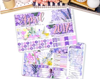 APRIL Monthly View Kit Stickers for ECLP Vertical and Horizontal, Calendar Month , Month View Stickers