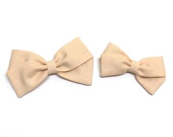 Hair Bow Clips - Light Peach - bow clips - clip or headband