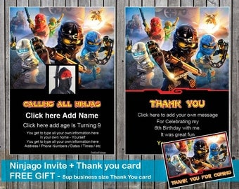 Ninjago Birthday Invite. Add your OWN PHOTO  and Thank You Card + FREE gift = A4 page with 8 business card size Thank you for coming message