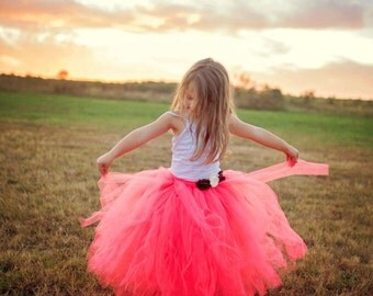 Long Length Tutu-SEWN Tutu-Floor Length Tutu-Coral Tutu-Full Tutu-First Birthday Tutu-Flower Girl Skirt-Tutu with Flowers-Flowy Tutu