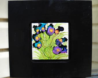 Black Framed Abstract Iris Alcohol Ink Tile Art