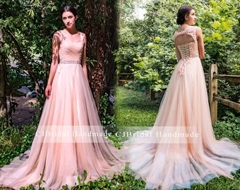 Blush wedding dress etsy blush venice lace wide straps key hole lace up back a line tulle bridal gown chapel junglespirit Gallery