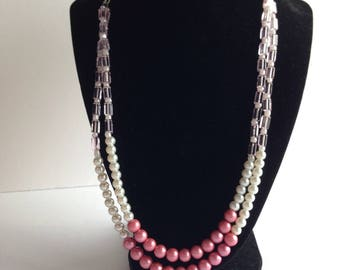 Pink and White Pearl Necklace, Multi Stand Necklace, Multi Stand Pearl Necklace, Double Stand Pearl Necklace