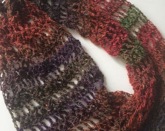 Stunning, one of a kind, multi-coloured, lacey, crochet, scarf