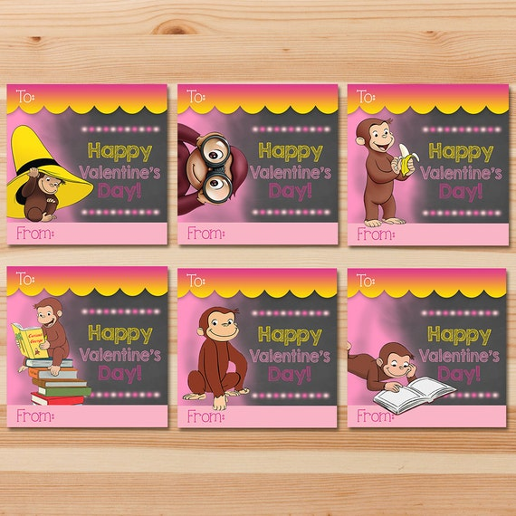 urious George Valentine's Day Cards - Pink Chalkboard - Girl Curious George Valentines - Curious George School Valentine's Day Cards