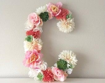 "Large Floral Letter, Custom Flower Letter, Nursery Letter, Name Decor, Floral Nursery, Baby Girl Nursery, Baby Shower, 19"" 24"", Pink Nursery"