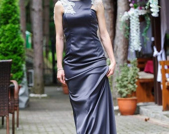 Formal Dress/dark Gray A-Line Evening Dress/A-line Formal Dress/Prom Dress