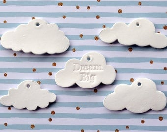 Dream big gift tags, clouds or stars, white cloud tags, diy wall hanging, dream big star, small clouds, dream big ornament, star wall decor