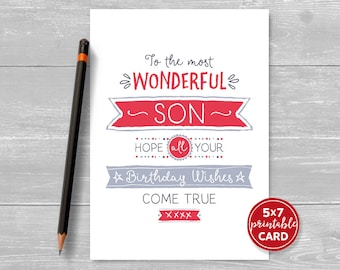 "Printable Birthday Card For Son - To The Most Wonderful Son, Hope Your Birthday Wishes Come True - 5""x7""- Plus Printable Envelope Template"