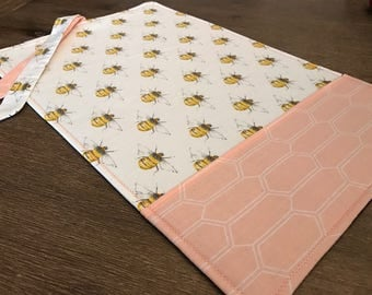BEES / placemat roll utenciles, portable place mat, for school, for work, placemat for lunchbox!