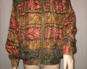 90's Beyond Performance Silk Green Windbreaker - Track Suit  (M)