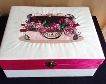 Large keepsake trinket memory box with machine embroidered suitcase and flowers birthday gift