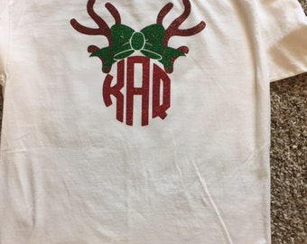 Adult or Youth Reindeer Monogram long sleeve Shirt