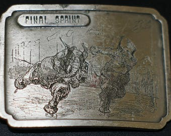"Vintage ""Final Sprint"" Elephant Belt Buckle by Bergamot Brass Works (1974)"