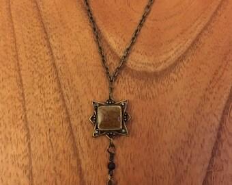 Retro Brass Drop Necklace