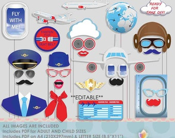 Editable Airplane Photo Booth Props for Aviator Pilot Party