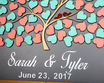 Mint Wedding Guest Book Red Guest book Alternative Peach Guestbook Wedding Sign Wedding Guest Book Tree of life Wedding tree guest book gift