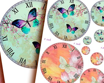 BUTTERFLIES & FLOWERS Clock Faces  8 inch clock faces + various sizes Home Decor - Scrapbooking - Mixed Media - Decoupage - Instant Download