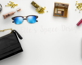 Desk Flat Lay with Black Purse, Ray Ban Sunglasses, Compact, Sequins, Lip Gloss | Blog Website Styled Stock Photography
