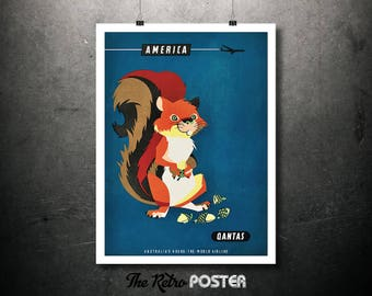 America, Red Squirrel, Qantas Vintage Travel Poster, Wanderlust, Travel Prints, Animal, Travel gift, Travel Decor, Travel Poster Prints