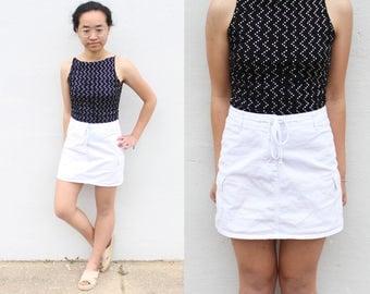 Minimalist White Drawstring Skirt Mini Skirt Miniskirt
