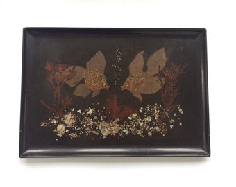 Couroc of Monterey Black Resin Tray - Hand Inland Fish & Sea