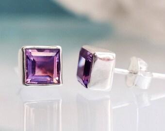 Square Purple Amethyst Earrings - Silver Studs - Amethyst Studs - Gemstone Studs - Silver Earrings - Large Big Stud Earrings - Lavender Post