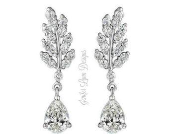 Leaf Bridal Earrings, Bridal Earrings, Drop Earrings, Wedding Jewelry, Chandelier Earrings, Bridal Gown, Wedding Dress, Long Bridal Earrings