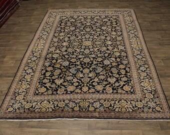 Allover Handmade Vintage Rare Navy Kashan Persian Rug Oriental Area Carpet 9X13