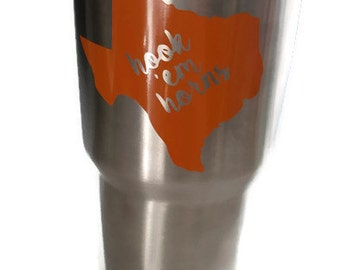 Texas Longhorns Decal, College Football Decal, Hook em horns, Yeti Decal, RITC Decal, Car Decal, Laptop Decal, Water Bottle Decal, etc.