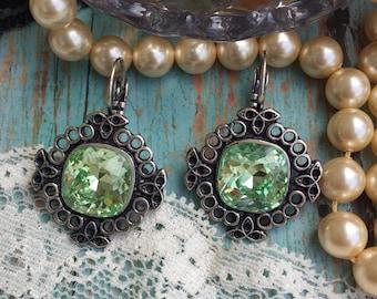 Swarovski crystal antique silver dangle earrings