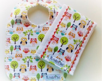 Baby Bibs - Burp Cloths - Baby Bibs Handmade - Owl Bibs - Owl Burp Cloths - Woodland - Riley Blake - Owls - Baby Boy Bibs - Baby Girl Bibs