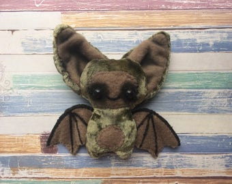 Plush kawaii chibi bat with posable wings