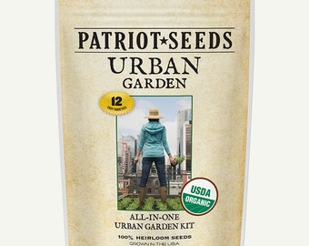 Organic Urban Garden Seed Kit – 12 Easy-to-Grow Varieties, 100% CCOF-Certified Organic Heirloom, Non-GMO Seeds in Re-Sealable Pouch