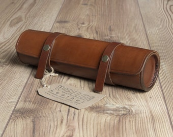 Vintage Style Leather Pencil Case - Handmade Leather Pencil Case, Artist Roll, Tube Pencil Case, Pen case, Leather Pencil Case