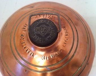 """Vintage Copper Hot Water Heater Bottle, Bed Warmer in the Old Days, Feet Warmer, Body Warmer, Vintage Copper Water Bottle, Wafax, 8 1/2"""""""